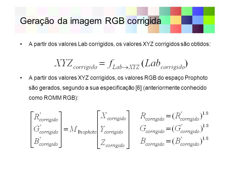 Geração da imagem RGB corrigida A partir dos valores Lab corrigidos, os valores XYZ corrigidos são obtidos: A partir dos valores XYZ corrigidos, os valores RGB do espaço Prophoto são gerados, segundo a sua especificação [6] (anteriormente conhecido como ROMM RGB):