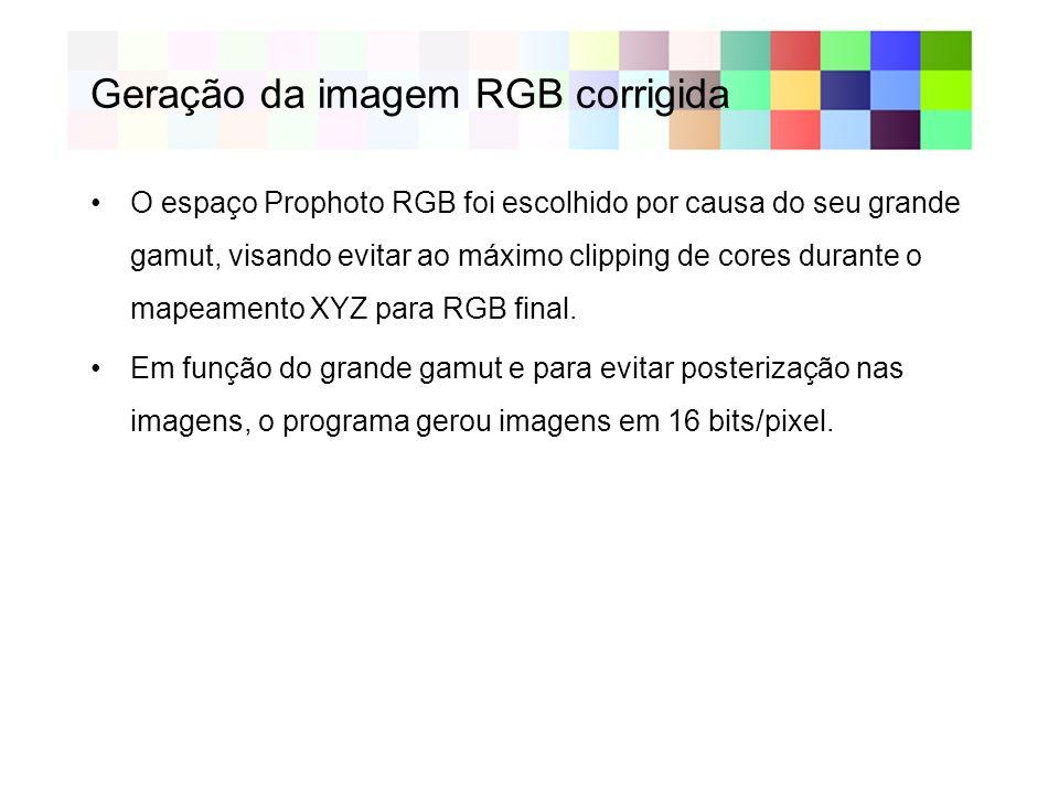 Geração da imagem RGB corrigida O espaço Prophoto RGB foi escolhido por causa do seu grande gamut, visando evitar ao máximo clipping de cores durante o mapeamento XYZ para RGB final.