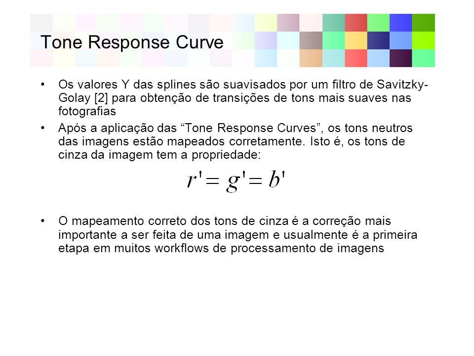 Tone Response Curve Os valores Y das splines são suavisados por um filtro de Savitzky- Golay [2] para obtenção de transições de tons mais suaves nas fotografias Após a aplicação das Tone Response Curves, os tons neutros das imagens estão mapeados corretamente.