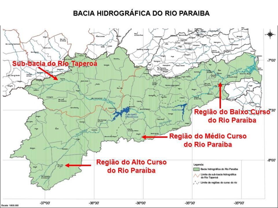 BACIA HIDROGRÁFICA DO RIO PARAIBA Região do Alto Curso do Rio Paraíba Região do Médio Curso do Rio Paraíba Região do Baixo Curso do Rio Paraíba Sub-ba