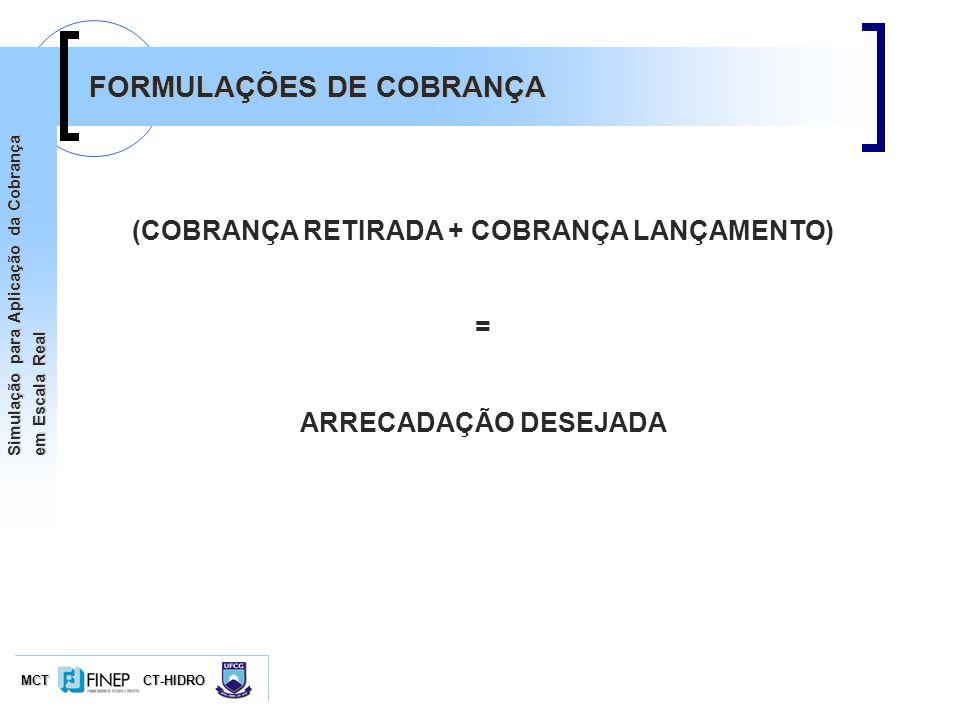 MCTCT-HIDRO Simulação para Aplicação da Cobrança em Escala Real FORMULAÇÕES DE COBRANÇA (COBRANÇA RETIRADA + COBRANÇA LANÇAMENTO) = ARRECADAÇÃO DESEJA