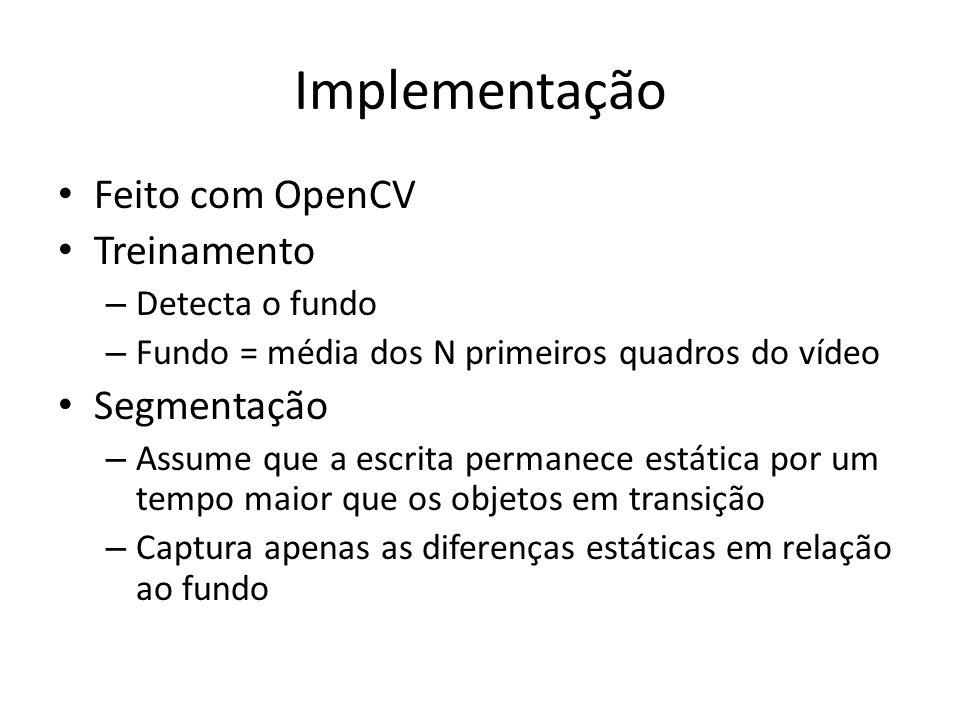 Implementação Feito com OpenCV Treinamento – Detecta o fundo – Fundo = média dos N primeiros quadros do vídeo Segmentação – Assume que a escrita perma