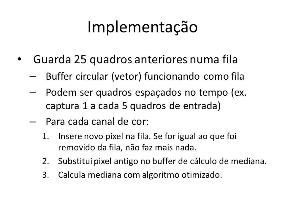 Implementação Guarda 25 quadros anteriores numa fila – Buffer circular (vetor) funcionando como fila – Podem ser quadros espaçados no tempo (ex. captu