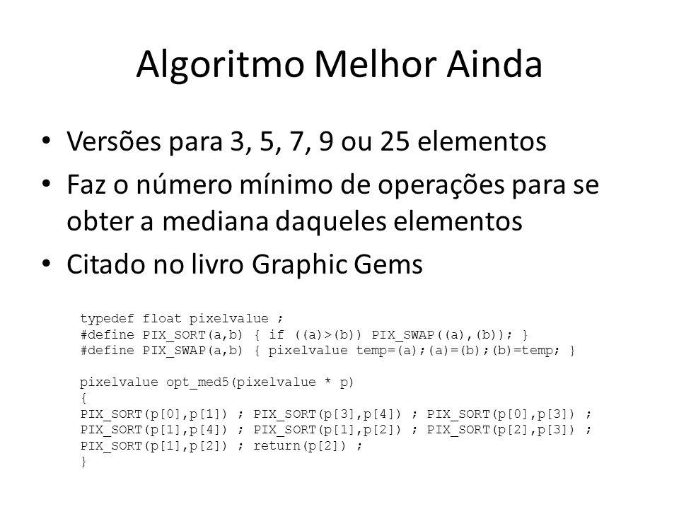 Algoritmo Melhor Ainda Versões para 3, 5, 7, 9 ou 25 elementos Faz o número mínimo de operações para se obter a mediana daqueles elementos Citado no l