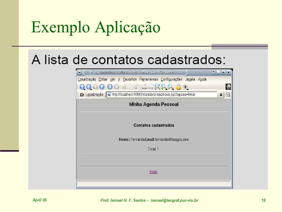 April 05 Prof. Ismael H. F. Santos - ismael@tecgraf.puc-rio.br 18 Exemplo Aplicação
