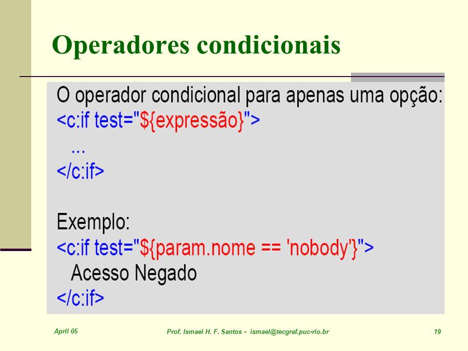 April 05 Prof. Ismael H. F. Santos - ismael@tecgraf.puc-rio.br 19 Operadores condicionais