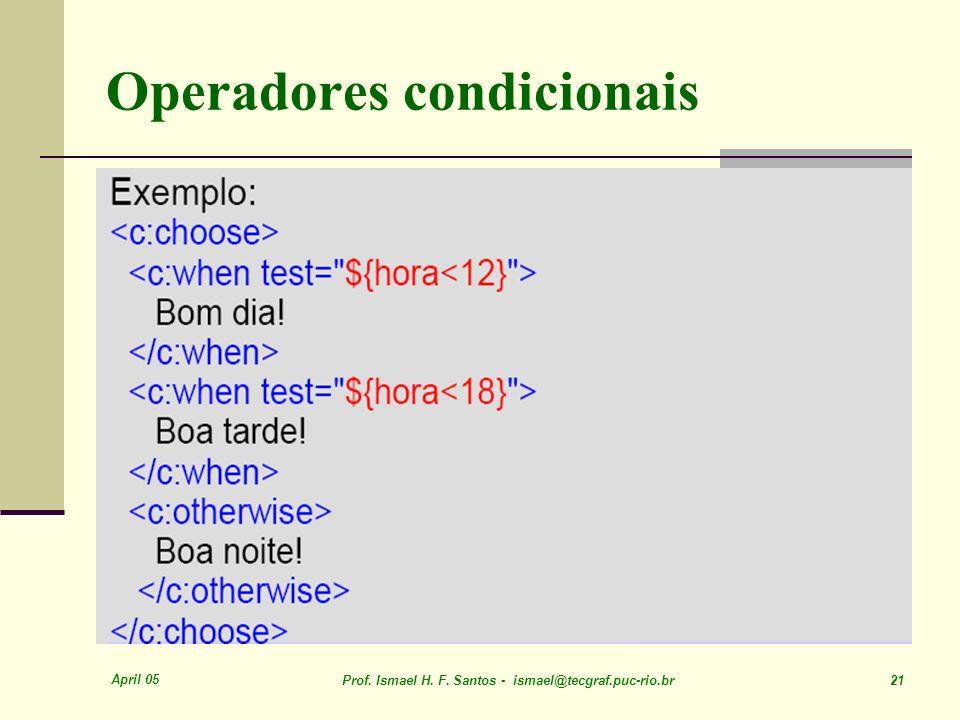 April 05 Prof. Ismael H. F. Santos - ismael@tecgraf.puc-rio.br 21 Operadores condicionais