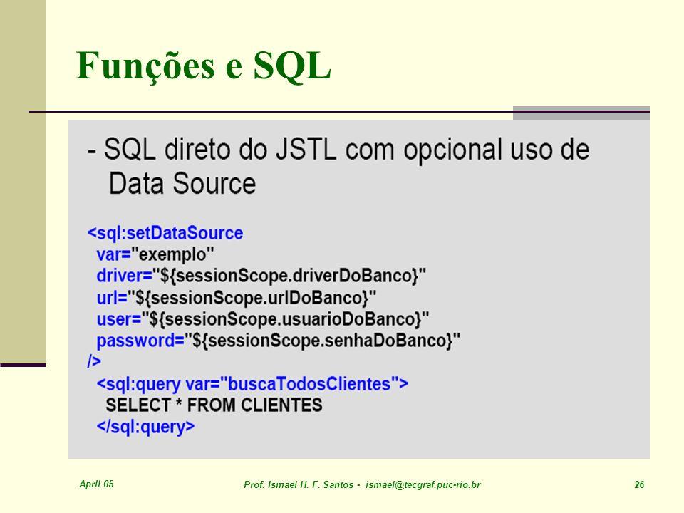 April 05 Prof. Ismael H. F. Santos - ismael@tecgraf.puc-rio.br 26 Funções e SQL