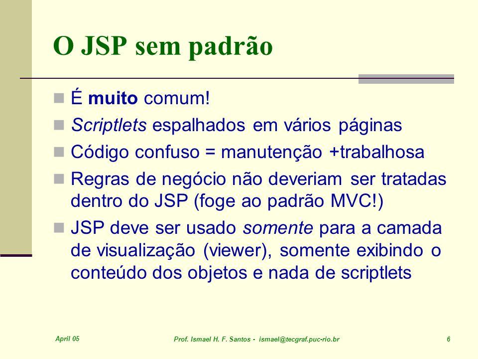 April 05 Prof. Ismael H. F. Santos - ismael@tecgraf.puc-rio.br 6 O JSP sem padrão É muito comum.