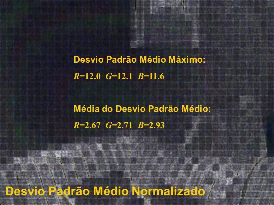 Desvio Padrão Médio Normalizado Desvio Padrão Médio Máximo: R=12.0 G=12.1 B=11.6 Média do Desvio Padrão Médio: R=2.67 G=2.71 B=2.93
