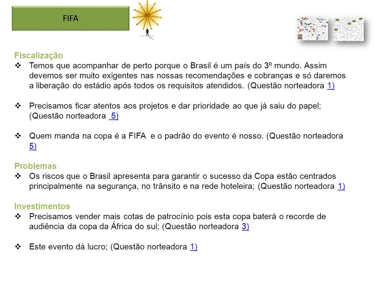 Fiscalização Temos que acompanhar de perto porque o Brasil é um país do 3º mundo. Assim devemos ser muito exigentes nas nossas recomendações e cobranç