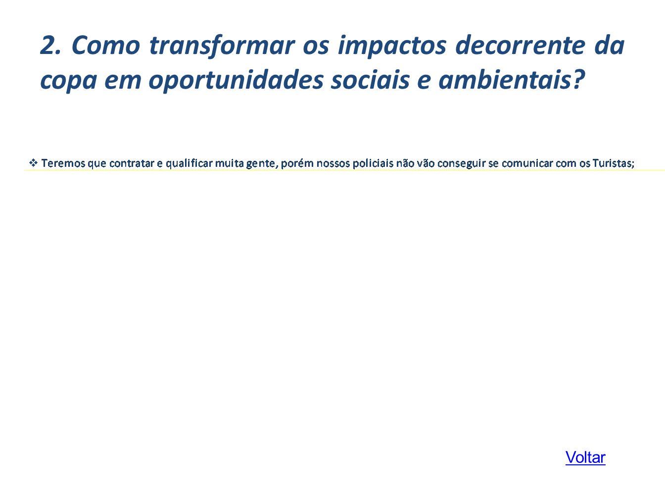 2. Como transformar os impactos decorrente da copa em oportunidades sociais e ambientais? Voltar