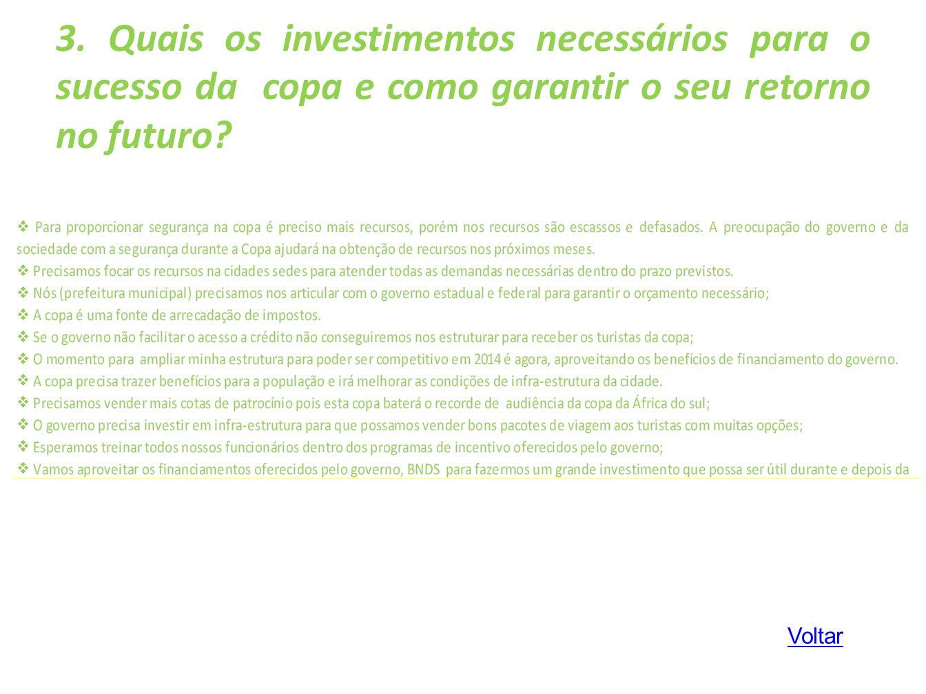 3. Quais os investimentos necessários para o sucesso da copa e como garantir o seu retorno no futuro? Voltar