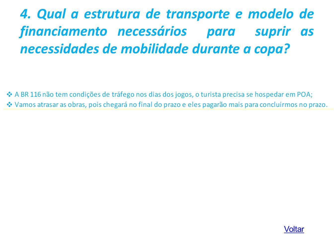 4. Qual a estrutura de transporte e modelo de financiamento necessários para suprir as necessidades de mobilidade durante a copa? Voltar