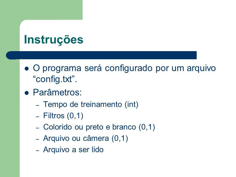Instruções O programa será configurado por um arquivo config.txt. Parâmetros: – Tempo de treinamento (int) – Filtros (0,1) – Colorido ou preto e branc