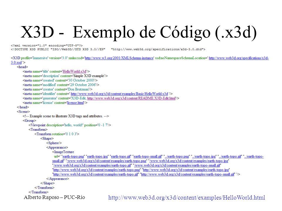 Alberto Raposo – PUC-Rio X3D - Exemplo de Código (.x3d) http://www.web3d.org/x3d/content/examples/HelloWorld.html