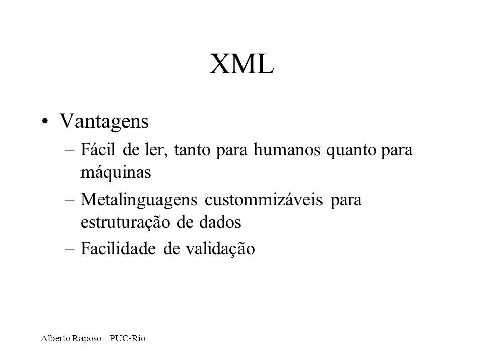 Alberto Raposo – PUC-Rio XML Vantagens –Fácil de ler, tanto para humanos quanto para máquinas –Metalinguagens custommizáveis para estruturação de dado