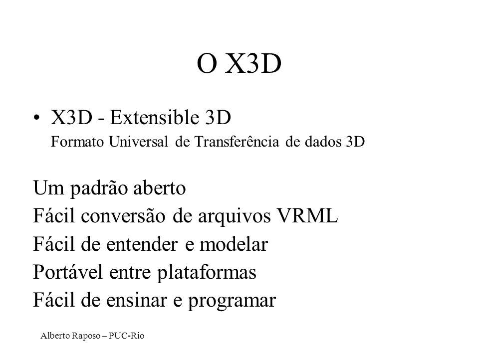 Alberto Raposo – PUC-Rio O X3D X3D - Extensible 3D Formato Universal de Transferência de dados 3D Um padrão aberto Fácil conversão de arquivos VRML Fá