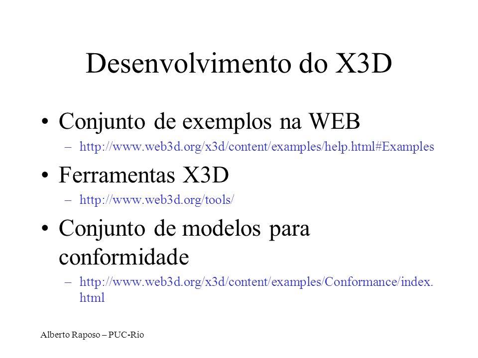 Alberto Raposo – PUC-Rio Desenvolvimento do X3D Conjunto de exemplos na WEB –http://www.web3d.org/x3d/content/examples/help.html#Examples Ferramentas