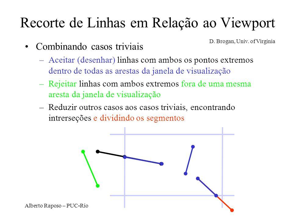 Alberto Raposo – PUC-Rio Recorte de Linhas em Relação ao Viewport Combinando casos triviais –Aceitar (desenhar) linhas com ambos os pontos extremos de