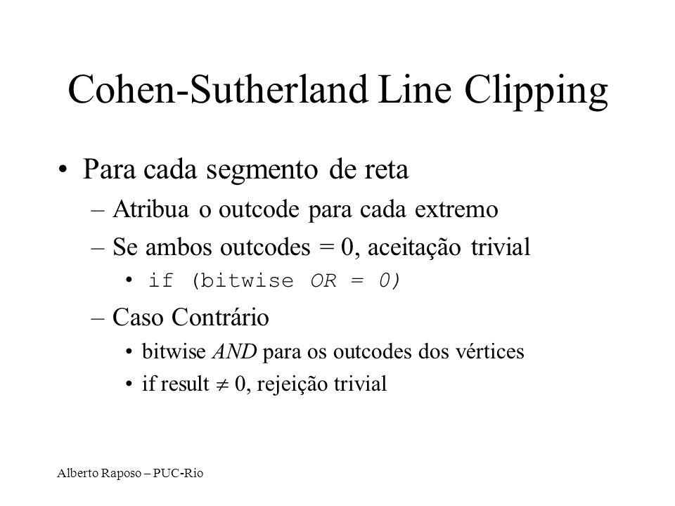 Alberto Raposo – PUC-Rio Cohen-Sutherland Line Clipping Para cada segmento de reta –Atribua o outcode para cada extremo –Se ambos outcodes = 0, aceita