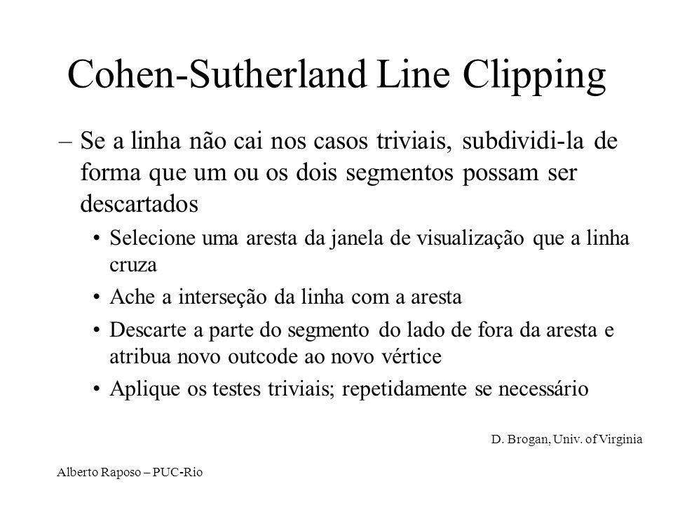Alberto Raposo – PUC-Rio Cohen-Sutherland Line Clipping –Se a linha não cai nos casos triviais, subdividi-la de forma que um ou os dois segmentos poss