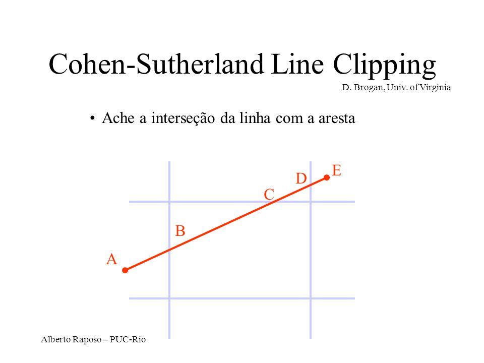 Alberto Raposo – PUC-Rio Cohen-Sutherland Line Clipping Ache a interseção da linha com a aresta A B D E C D. Brogan, Univ. of Virginia