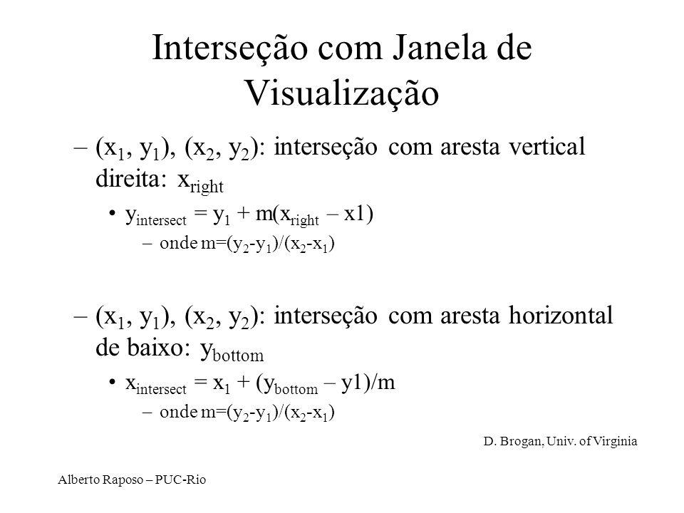 Alberto Raposo – PUC-Rio Interseção com Janela de Visualização –(x 1, y 1 ), (x 2, y 2 ): interseção com aresta vertical direita: x right y intersect