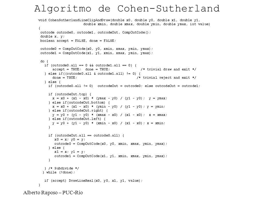 Alberto Raposo – PUC-Rio void CohenSutherlandLineClipAndDraw(double x0, double y0, double x1, double y1, double xmin, double xmax, double ymin, double