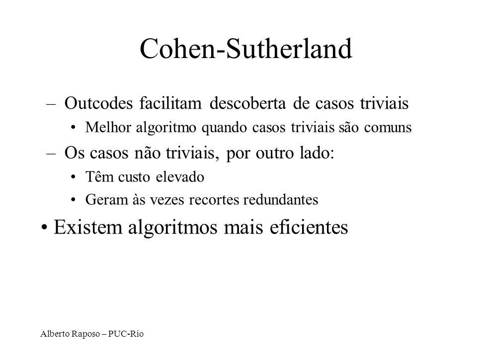 Alberto Raposo – PUC-Rio Cohen-Sutherland –Outcodes facilitam descoberta de casos triviais Melhor algoritmo quando casos triviais são comuns –Os casos