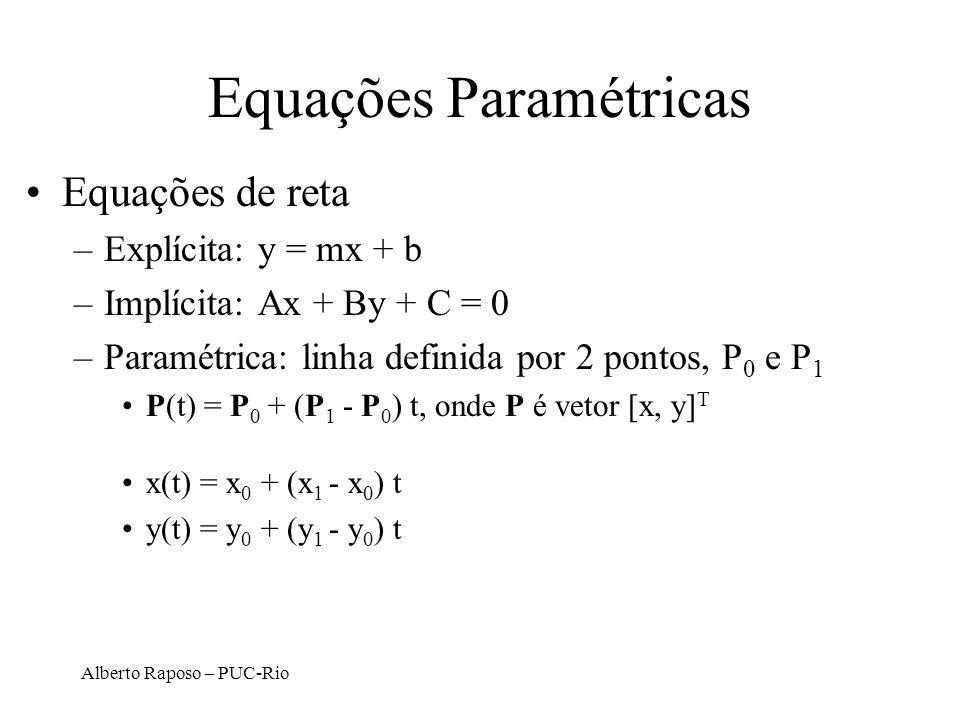 Alberto Raposo – PUC-Rio Equações Paramétricas Equações de reta –Explícita: y = mx + b –Implícita: Ax + By + C = 0 –Paramétrica: linha definida por 2