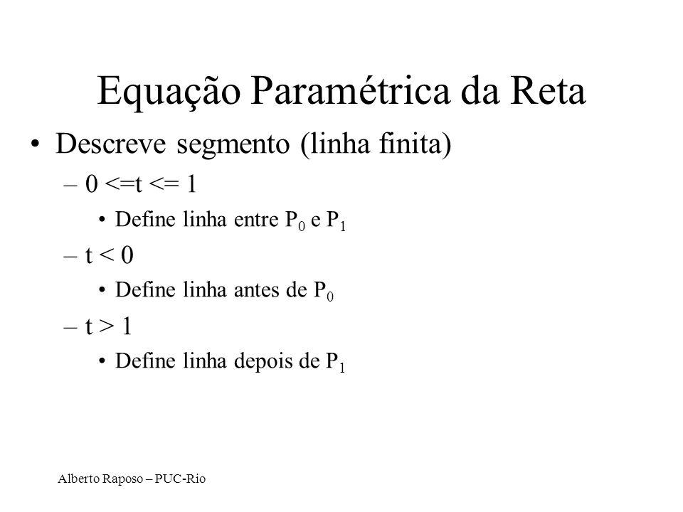Alberto Raposo – PUC-Rio Equação Paramétrica da Reta Descreve segmento (linha finita) –0 <=t <= 1 Define linha entre P 0 e P 1 –t < 0 Define linha ant