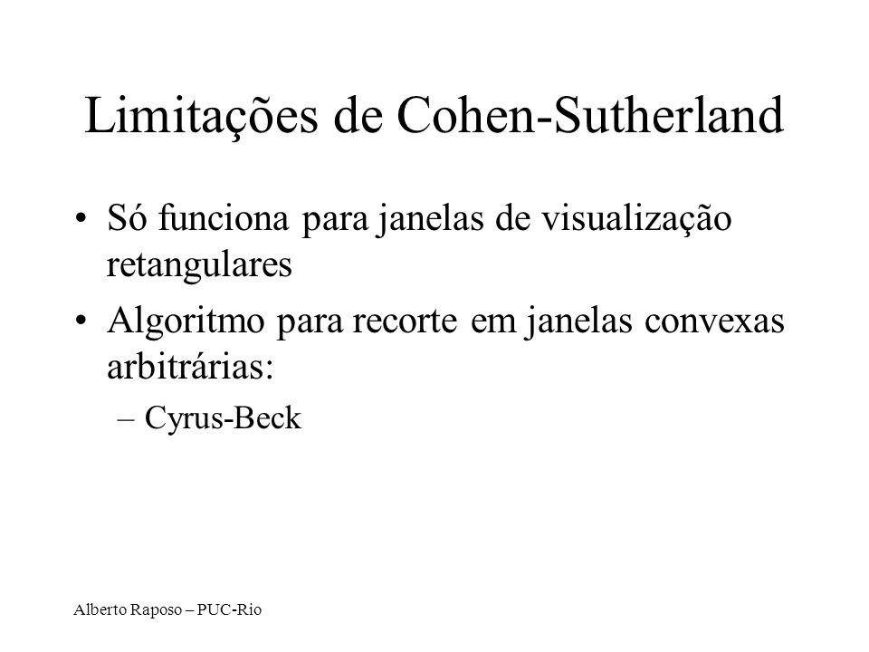 Alberto Raposo – PUC-Rio Limitações de Cohen-Sutherland Só funciona para janelas de visualização retangulares Algoritmo para recorte em janelas convex