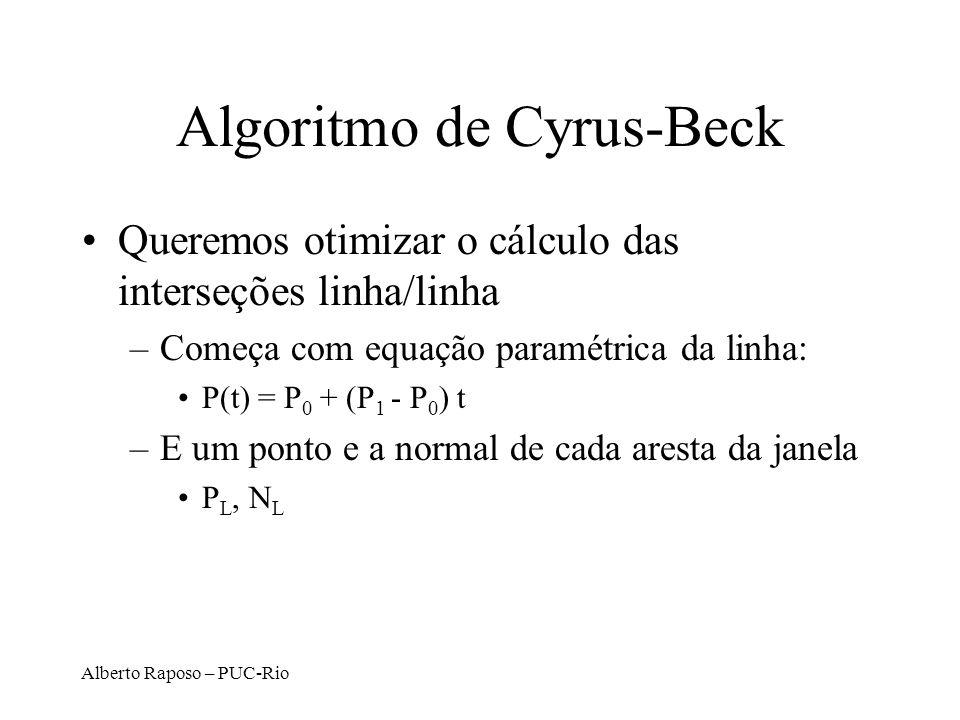 Alberto Raposo – PUC-Rio Algoritmo de Cyrus-Beck Queremos otimizar o cálculo das interseções linha/linha –Começa com equação paramétrica da linha: P(t