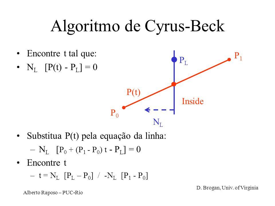 Alberto Raposo – PUC-Rio Algoritmo de Cyrus-Beck Encontre t tal que: N L [P(t) - P L ] = 0 Substitua P(t) pela equação da linha: –N L [ P 0 + (P 1 - P