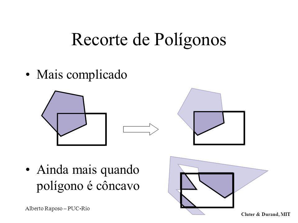 Alberto Raposo – PUC-Rio Recorte de Polígonos Mais complicado Ainda mais quando polígono é côncavo Cluter & Durand, MIT
