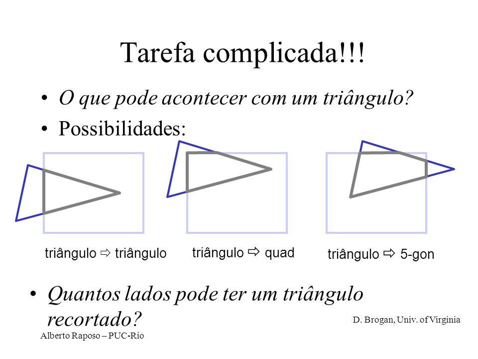 Alberto Raposo – PUC-Rio O que pode acontecer com um triângulo? Possibilidades: triângulo Tarefa complicada!!! triângulo quad triângulo 5-gon Quantos
