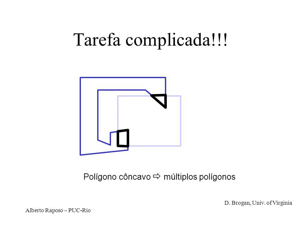 Alberto Raposo – PUC-Rio Tarefa complicada!!! Polígono côncavo múltiplos polígonos D. Brogan, Univ. of Virginia