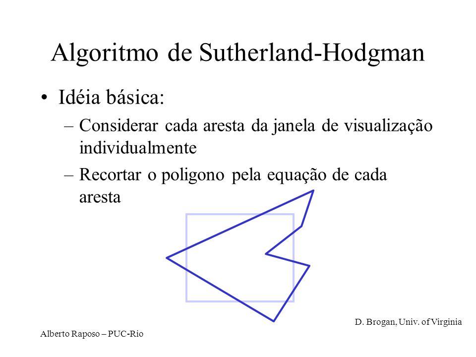 Alberto Raposo – PUC-Rio Algoritmo de Sutherland-Hodgman Idéia básica: –Considerar cada aresta da janela de visualização individualmente –Recortar o p