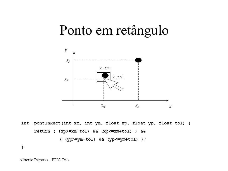 Alberto Raposo – PUC-Rio Ponto em retângulo xmxm ymym x y xpxp ypyp 2.tol int pontInRect(int xm, int ym, float xp, float yp, float tol) { return ( (xp