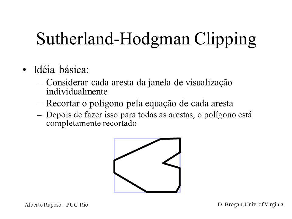 Alberto Raposo – PUC-Rio Sutherland-Hodgman Clipping Idéia básica: –Considerar cada aresta da janela de visualização individualmente –Recortar o polig