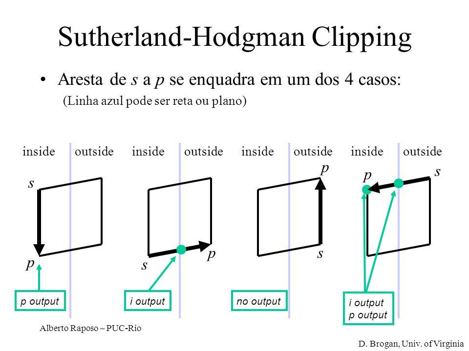 Alberto Raposo – PUC-Rio Sutherland-Hodgman Clipping Aresta de s a p se enquadra em um dos 4 casos: (Linha azul pode ser reta ou plano) insideoutside