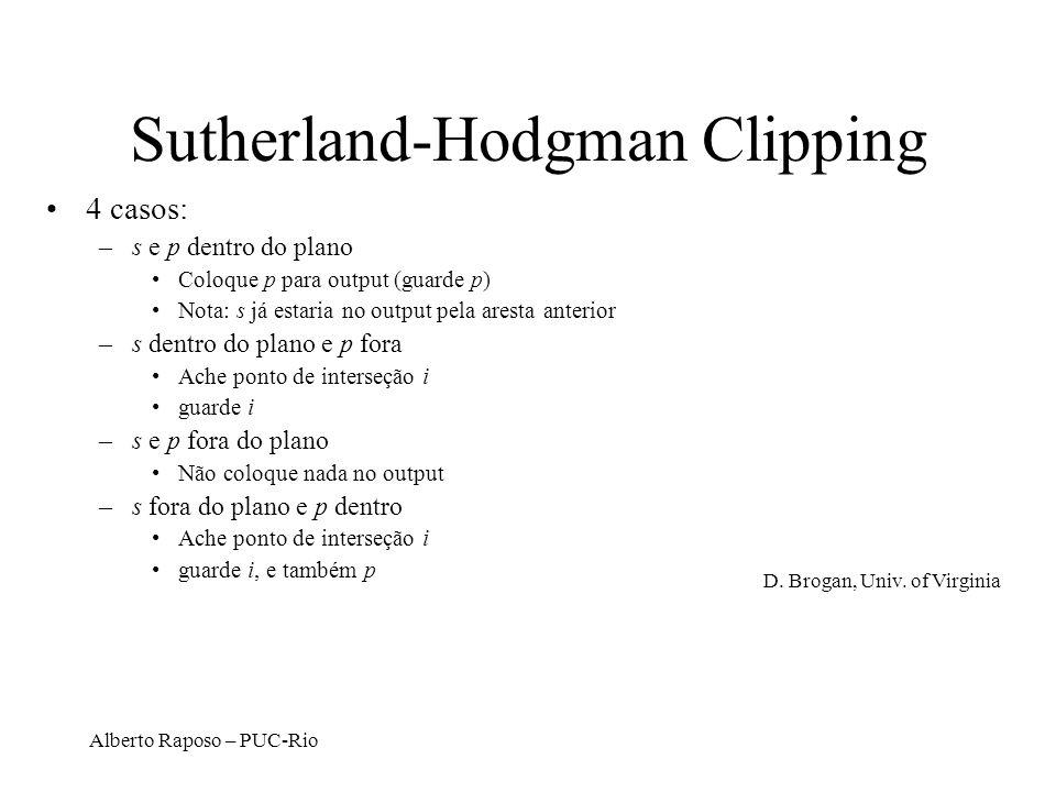 Alberto Raposo – PUC-Rio Sutherland-Hodgman Clipping 4 casos: –s e p dentro do plano Coloque p para output (guarde p) Nota: s já estaria no output pel