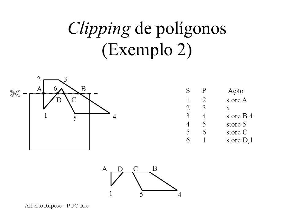 Alberto Raposo – PUC-Rio Clipping de polígonos (Exemplo 2) 1 SP Ação 12store A 23x 34store B,4 45store 5 56store C 61store D,1 3 2 4 5 6 AB C D xxxx 1