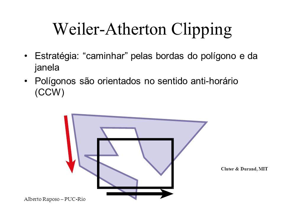 Alberto Raposo – PUC-Rio Weiler-Atherton Clipping Estratégia: caminhar pelas bordas do polígono e da janela Polígonos são orientados no sentido anti-h