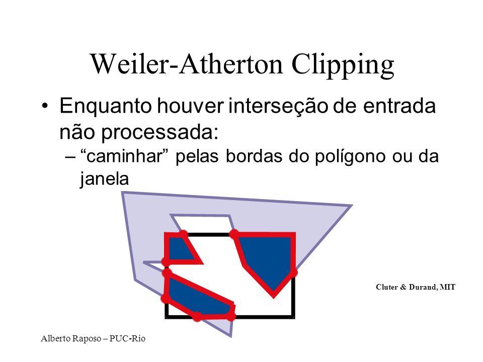 Alberto Raposo – PUC-Rio Weiler-Atherton Clipping Enquanto houver interseção de entrada não processada: –caminhar pelas bordas do polígono ou da janel