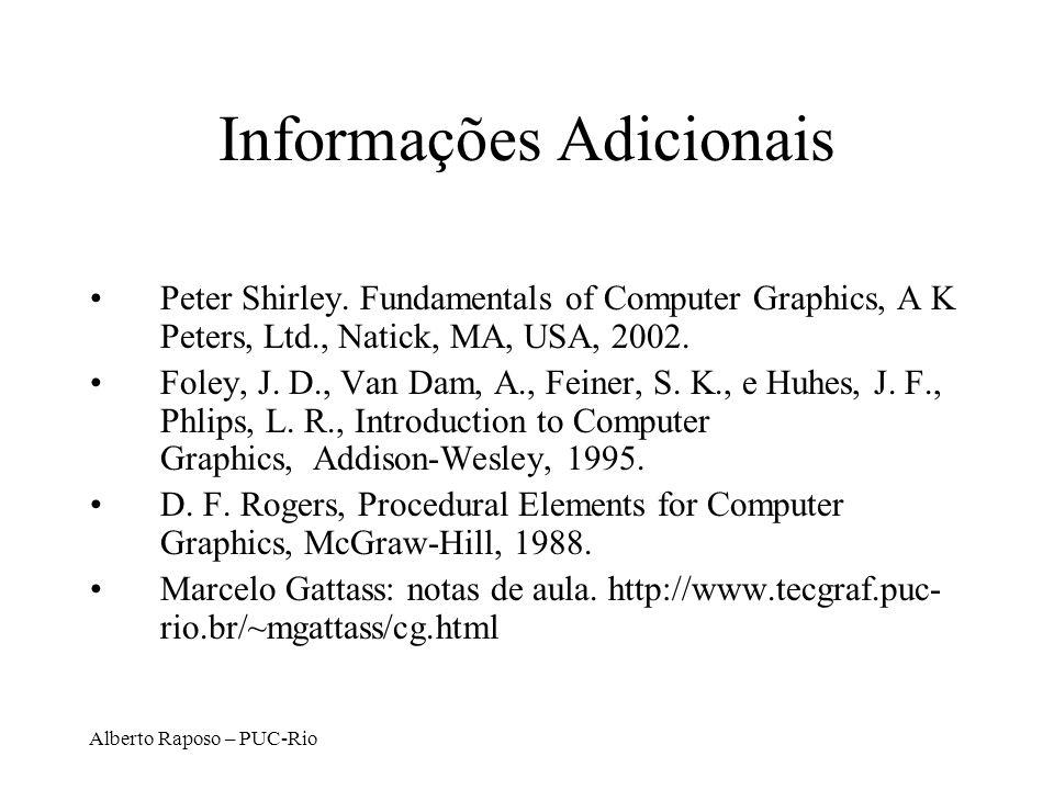 Alberto Raposo – PUC-Rio Informações Adicionais Peter Shirley. Fundamentals of Computer Graphics, A K Peters, Ltd., Natick, MA, USA, 2002. Foley, J. D