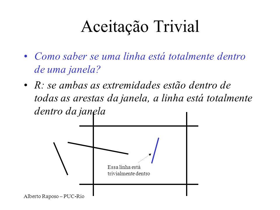 Alberto Raposo – PUC-Rio Interseção com Janela de Visualização –(x 1, y 1 ), (x 2, y 2 ): interseção com aresta vertical direita: x right y intersect = y 1 + m(x right – x1) –onde m=(y 2 -y 1 )/(x 2 -x 1 ) –(x 1, y 1 ), (x 2, y 2 ): interseção com aresta horizontal de baixo: y bottom x intersect = x 1 + (y bottom – y1)/m –onde m=(y 2 -y 1 )/(x 2 -x 1 ) D.