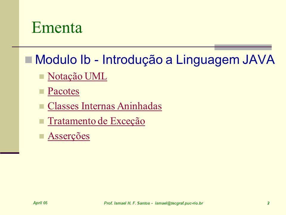 April 05 Prof. Ismael H. F. Santos - ismael@tecgraf.puc-rio.br 2 Ementa Modulo Ib - Introdução a Linguagem JAVA Notação UML Pacotes Classes Internas A