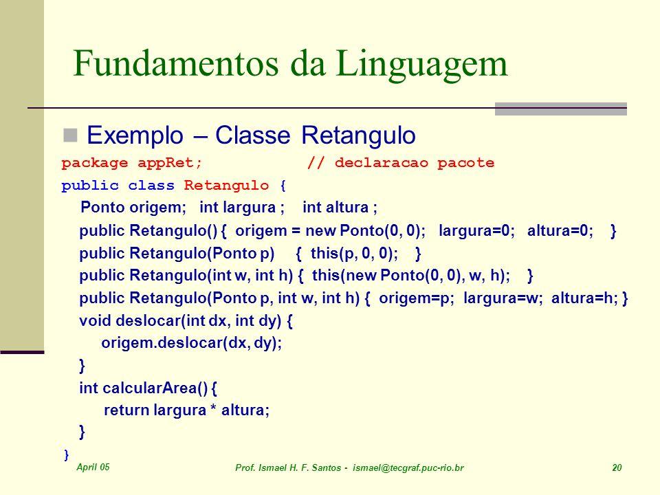 April 05 Prof. Ismael H. F. Santos - ismael@tecgraf.puc-rio.br 20 Fundamentos da Linguagem Exemplo – Classe Retangulo package appRet; // declaracao pa